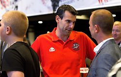 Bristol Flyers head coach Andreas Kapoulas chats with guests - Mandatory by-line: Robbie Stephenson/JMP - 12/09/2016 - BASKETBALL - Ashton Gate Stadium - Bristol, England - Bristol Flyers Sponsors Event
