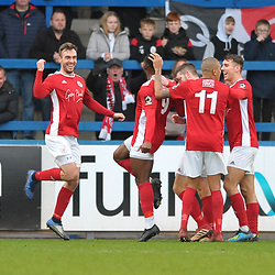 TELFORD COPYRIGHT MIKE SHERIDAN GOAL Lee Ndlovu of Brackley celebrates after scoring to make it 0-1 during the Vanarama Conference North fixture between AFC Telford United and Brackley Town at the New Bucks Head on Saturday, January 4, 2020.<br /> <br /> Picture credit: Mike Sheridan/Ultrapress<br /> <br /> MS201920-039