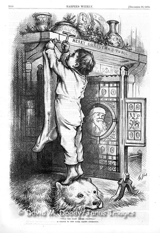 "Little boy hanging his Christmas stocking over the fireplace waiting for Santa Claus. He is standing barefoot in his pajamas on the head of a bearskin rug  ""Twas the night before Christmas""  The image of Santa can be seen on the fireplace screen. by Thomas Nast Harper's Weekly, December 30, 1876"