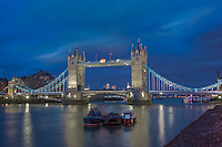tower bridge area along the river thames seen at night in april 2010.