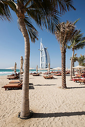 Luxury Burj al Arab hotel and beach in Dubai United Arab Emirates