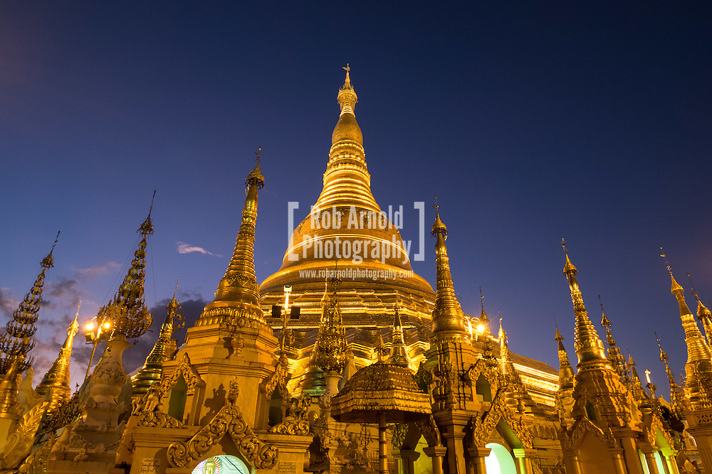 A view of the Shwedagon Pagoda at dusk