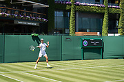 30 June 2018.  The Wimbledon Tennis Championships 2018 held at The All England Lawn Tennis and Croquet Club, London, England, UK.  <br /> <br /> Practice Saturday.<br /> Novak Djokovic practices with David Goffin on No 7 Court.  Pictutred:- Novak Djokovic