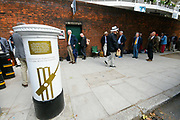 Long queues outside Lords netxt to the white post box commemorating England's World Cup win ahead of the last day of the Ashes test match which is poised on a knife edge ahead the International Test Match 2019 match between England and Australia at Lord's Cricket Ground, St John's Wood, United Kingdom on 18 August 2019.
