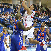 Delaware 87ers Forward Drew Gordon (32) attempts a shot in the paint as Westchester Knicks Forward Darnell Jackson (45) defends in the first half of a NBA D-league regular season basketball game between the Delaware 87ers and the Westchester Knicks (New York Knicks) Sunday, Dec. 28, 2014 at The Bob Carpenter Sports Convocation Center in Newark, DEL