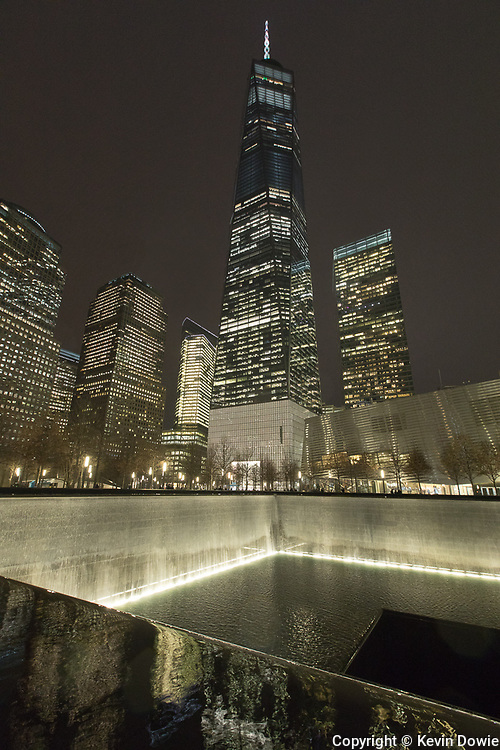 1 WTC and 911 Memorial by night