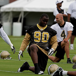 05 June 2009: Saints defensive tackle DeMario Pressley (90) participates in drills during the New Orleans Saints Minicamp held at the team's practice facility in Metairie, Louisiana.
