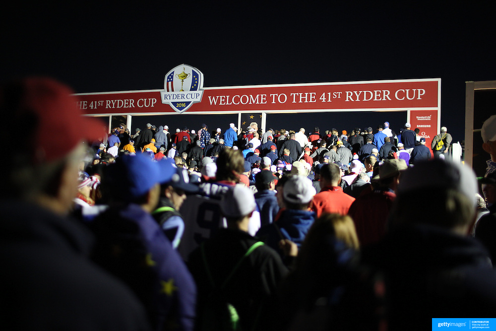 Ryder Cup 2016. Day Two. Spectators queue at the entrance at dawn before the start of competition during the Ryder Cup at the Hazeltine National Golf Club on October 01, 2016 in Chaska, Minnesota.  (Photo by Tim Clayton/Corbis via Getty Images)