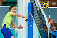 Katowice, Poland - 2017 September 02: (L) Athlete Viacheslav Zbikovskiy from SO Russia spikes the ball while SO Russia versus SO Czech Republic semifinal match during European Unified Volleyball Tournament 2017 at Spodek Hall on September 02, 2017 in Katowice, Poland.<br /> <br /> Adam Nurkiewicz declares that he has no rights to the image of people at the photographs of his authorship.<br /> <br /> Picture also available in RAW (NEF) or TIFF format on special request.<br /> <br /> Any editorial, commercial or promotional use requires written permission from the author of image.<br /> <br /> Image can be used in the press when the method of use and the signature does not hurt people on the picture.<br /> <br /> Mandatory credit:<br /> Photo by © Adam Nurkiewicz / Mediasport