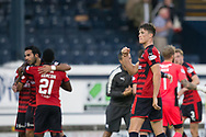 Dundee scorers Jack Hendry and Sofien Moussa celebrate at full time - Raith Rovers v Dundee, Betfred Cup at Starks Park, Kirkcaldy, Photo: David Young<br /> <br />  - &copy; David Young - www.davidyoungphoto.co.uk - email: davidyoungphoto@gmail.com