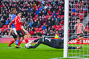 Jon McLaughlin of Sunderland (1) makes a save during the EFL Sky Bet League 1 first leg Play Off match between Sunderland and Portsmouth at the Stadium Of Light, Sunderland, England on 11 May 2019.