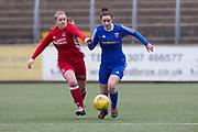 Forfar Farminton's Cassie Cowper goes past Aberdeen's Lynn Duncan - Forfar Farmington v Aberdeen in the Scottish Womens' Premier League Cup round one at Station Park, Forfar<br /> <br />  - &copy; David Young - www.davidyoungphoto.co.uk - email: davidyoungphoto@gmail.com