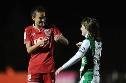 Rosella Ayane of Bristol City Women shares a joke with Ellie Curson of Yeovil Town Ladies - Mandatory by-line: Dougie Allward/JMP - Mobile: 07966 386802 - 23/03/2016 - FOOTBALL - Stoke Gifford Stadium - Bristol, England - Bristol City Women v Yeovil Town Ladies - FA Women's Super League 2