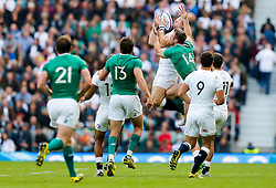 England Full Back Mike Brown and Ireland Winger Tommy Bowe go for a high ball - Mandatory byline: Rogan Thomson/JMP - 07966 386802 - 05/09/2015 - RUGBY UNION - Twickenham Stadium - London, England - England v Ireland - QBE Internationals 2015.