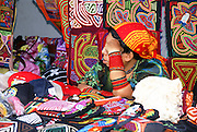 Kuna indian crafts on display and on sale in a street of Panama city