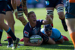 March 17, 2018 - Sydney, NSW, U.S. - SYDNEY, NSW - MARCH 18: Rebels player Reece Hodge (12) asks for a try during the first half at round 5 of the Super Rugby between Waratahs and Rebels at Allianz Stadium in Sydney on March 18, 2018. (Photo by Speed Media/Icon Sportswire) (Credit Image: © Speed Media/Icon SMI via ZUMA Press)