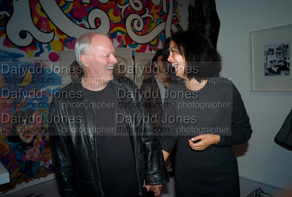 DAVID GILMOUR; POLLY SAMPSON, Exhibition opening ' Alan Aldridge- The Man With Kaleidoscope Eyes' hosted by his daughter Saffron Aldridge. Design Museum. Shad Thames. London  SE1. *** Local Caption *** -DO NOT ARCHIVE -Copyright Photograph by Dafydd Jones. 248 Clapham Rd. London SW9 0PZ. Tel 0207 820 0771. www.dafjones.com
