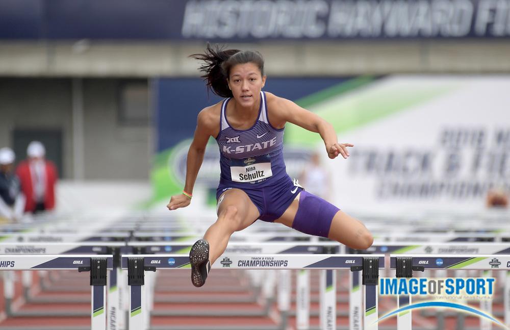 Jun 8, 2018; Eugene, OR, USA; Nina Schultz of Kansas State runs 13.71 in the heptathlon 100m hurdles during the NCAA Track and Field championships at Hayward Field.