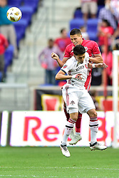 September 22, 2018 - Harrison, New Jersey, USA - New York Red Bulls Midfielder SEAN DAVIS (27) heads the ball clear from Toronto FC Midfielder MARKY DELGADO (18) at Red Bull Arena in Harrison New Jersey New York defeats Toronto 2 to 0 (Credit Image: © Brooks Von Arx/ZUMA Wire)