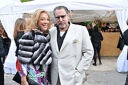 DENISE RICH and JULIAN SCHNABEL at a private view in aid of Chickenshed of Julian Schnabel's first UK solo show of paintings for 15 years entitled 'Every Angel Has A Dark Side' held at the Dairy Art Centre, 7a Wakefield Street, Bloomsbury, London on 24th April 2014.