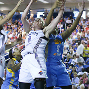 New York Liberty Center Carolyn Swords battles Chicago Sky Center Markeisha Gatling (9) under the basket for the rebound in the first period of a WNBA preseason basketball game between the Chicago Sky and the New York Liberty Friday, May. 22, 2015 at The Bob Carpenter Sports Convocation Center in Newark, DEL