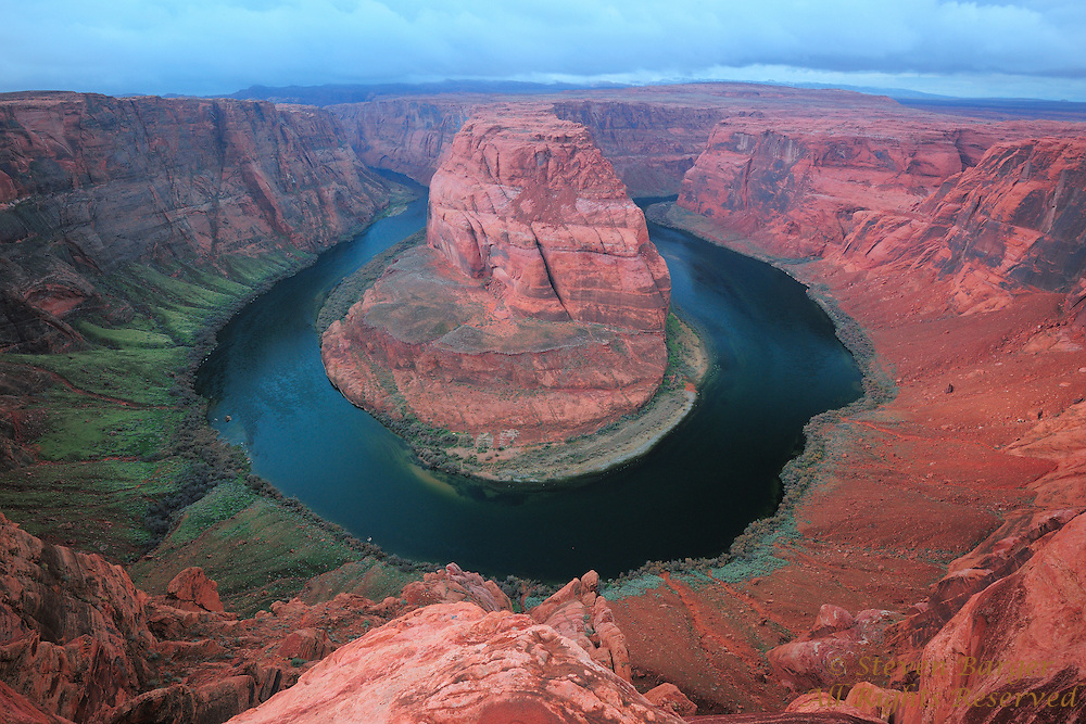 Wide view of Colorado River at Horseshoe Bend near Page Arizona.