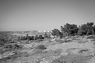 West Bank, At-Tuwani: a view of the illegal israeli settlement of Havat Ma'on located in south of West Bak. In 1982 the settlement Ma'on was built on one side of the main road between At-Tuwani and Tuba and in 2001 settlers built the outpost Havay Ma'on on the other side of the road. Settlers from Ma'on fenced off private Palestinians lands and use it for agricultural purpose