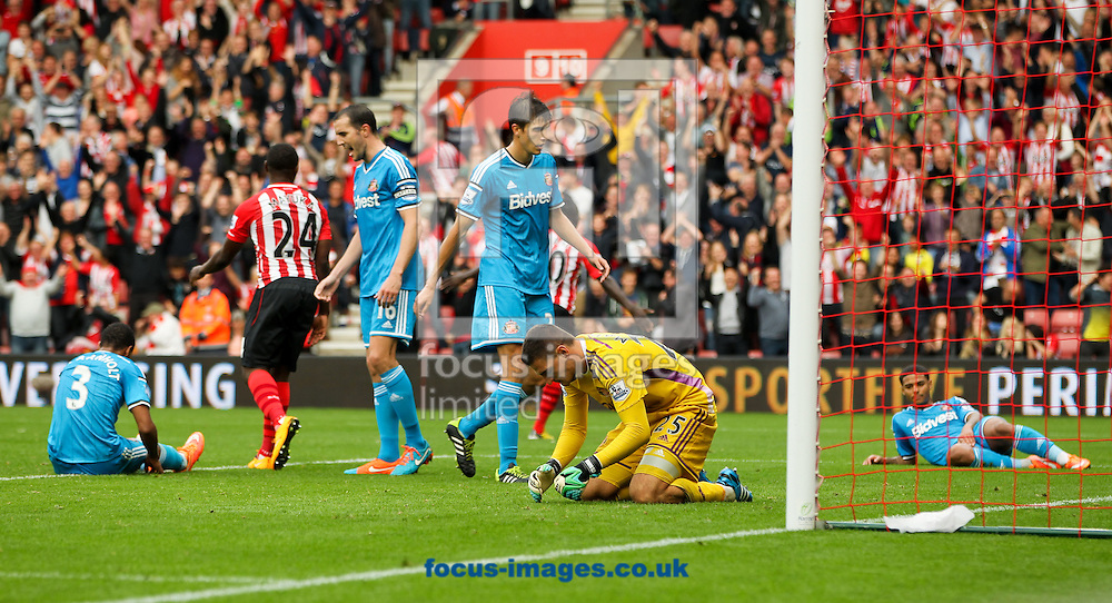 Patrick van Aanholt (left), John O'Shea (3rd left), Santiago Vergini (centre) Vito Mannone (2nd right), Liam Bridcutt (right) all of Sunderland react to going 8-0 down during the Barclays Premier League match at the St Mary's Stadium, Southampton<br /> Picture by Tom Smith/Focus Images Ltd 07545141164<br /> 18/10/2014