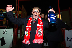 Free to use courtesy of Sky Bet - Accrington Stanley fan and former England Cricketer, turned pundit for Sky Sports, David Lloyd celebrates Accrington Stanley winning promotion to Sky Bet League One - Mandatory by-line: Robbie Stephenson/JMP - 17/04/2018 - FOOTBALL - Wham Stadium - Accrington, England - Accrington Stanley v Yeovil Town - Sky Bet League Two