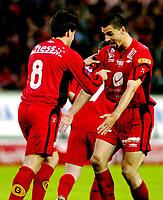 Fotball, Tippeligaen, 29 august 2005, Brann - Fredrikstad, resultat 4-0, Paul Scharner og Martin Andresen, Brann jubler etter skåring av Andresen. Foto: Kjetil Espetvedt, Digitalsport.