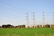 Israel, Haifa bay. High voltage power line pylon