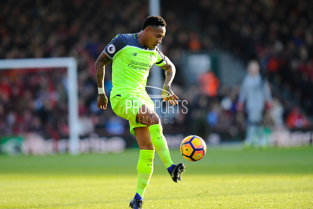 Nathaniel Clyne (2) of Liverpool during the Premier League match between Bournemouth and Liverpool at the Vitality Stadium, Bournemouth, England on 4 December 2016. Photo by Graham Hunt.
