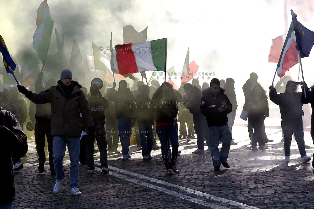 Roma 8 Febbraio  2007.Blocco Studentensco manifesta  nel giorno del Ricordo delle Foibe.Rome, 8 February 2007.Blocco Studentensco manifested on the day of Remembrance of Foibe