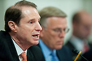 May 18,2010 - Washington, District of Columbia USA - Senator Ron Wyden asks questions to Interior Secretary Ken Salazar and members of his oil spill response team, during a Senate Energy and Natural Resources Committee hearing on offshore oil and gas exploration including the accident involving the Deepwater Horizon in the Gulf of Mexico.(Credit Image: © Pete Marovich/ZUMA Press)