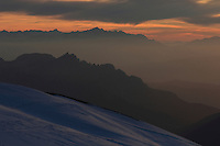 Marmolada Summit  evening view to the West  Italy  Dolomites