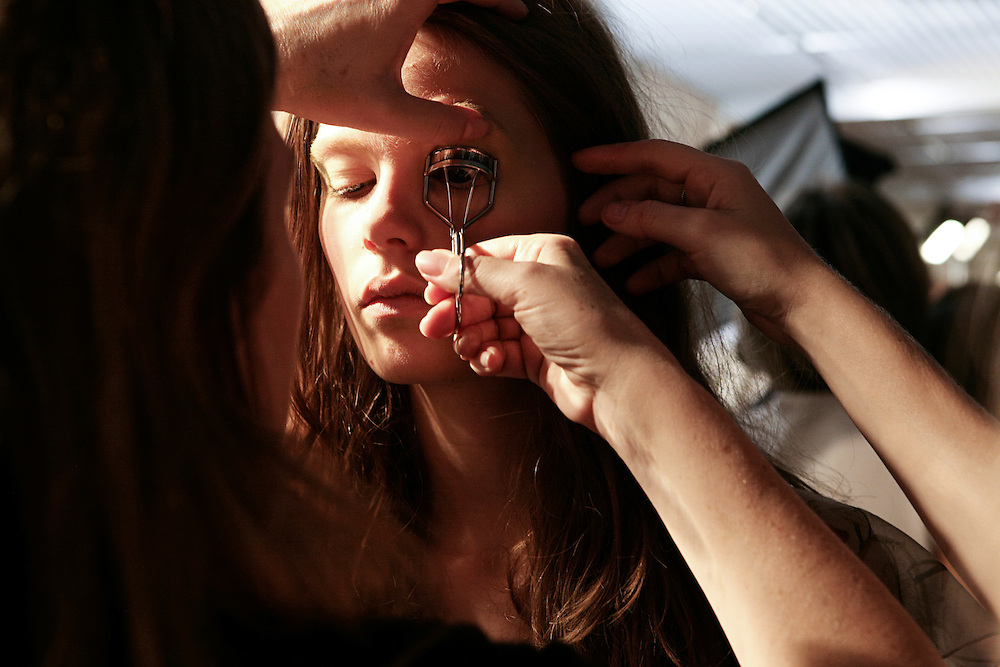 Milan, Italy, September 23, 2010. Backstage at Alberta Ferretti during the Milan Women's Fashion Week Spring/Summer 2011.