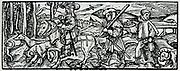 Woodmen cutting faggots. Woodcut from 'Calendarum Romanum Magnum',  1518.