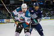 KELOWNA, CANADA - APRIL 26:  Tomas Soustal #15 of the Kelowna Rockets, Aaron Hyman #6 of the Seattle Thunderbirds at the Kelowna Rockets game on April 26, 2017 at Prospera Place in Kelowna, British Columbia, Canada.  (Photo By Cindy Rogers/Nyasa Photography,  *** Local Caption ***