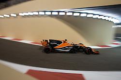 November 24, 2017 - Abu Dhabi, United Arab Emirates - Fernando Alonso of Spain and McLaren Honda Team driver goes during the first practice at Formula One Etihad Airways Abu Dhabi Grand Prix on Nov 24, 2017 in Yas Marina Circuit, Abu Dhabi, UAE. (Credit Image: © Robert Szaniszlo/NurPhoto via ZUMA Press)