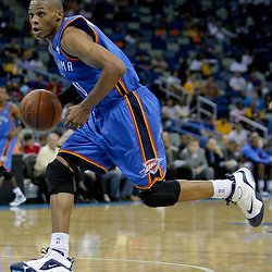 Oct 10, 2009; New Orleans, LA, USA;  Oklahoma City Thunder guard Russell Westbrook (0) drives to the lane during a preseason game against the New Orleans Hornets at the New Orleans Arena. The Hornets defeated the Thunder 88-79. Mandatory Credit: Derick E. Hingle-US PRESSWIRE