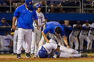 FLorida's 2nd baseman Mike Rivera gets hit by a pitch. Rivera had to leave the game after 5 innings. (photo by Samuel Navarro)