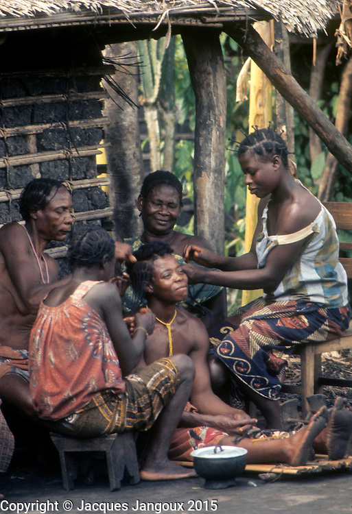 Africa, Democratic Republic of the Congo, Ngiri River area, Libinza tribe. Women grooming another woman's hair.