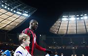 BERLIN, TYSKLAND - 2017-12-07: Ken Sema inf&ouml;r UEFA Europa League group J matchen mellan Hertha BSC och &Ouml;stersunds FK p&aring; Olympiastadion den 7 december, 2017 i  Berlin, Tyskland. Foto: Nils Petter Nilsson/Ombrello<br /> ***BETALBILD***