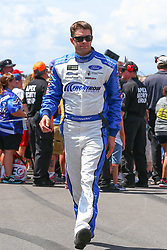July 29, 2018 - Long Pond, PA, U.S. - LONG POND, PA - JULY 29:  Monster Energy NASCAR Cup Series driver David Ragan A&W All American Food Ford (38) during driver introductions prior to the Monster Energy NASCAR Cup Series - 45th Annual Gander Outdoors 400 on July 29, 2018 at Pocono Raceway in Long Pond, PA. (Photo by Rich Graessle/Icon Sportswire) (Credit Image: © Rich Graessle/Icon SMI via ZUMA Press)