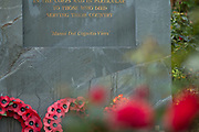 Wreaths and Poppies laid at a Memorial at the National Memorial Arboretum, Croxall Road, Alrewas, Burton-On-Trent,  Staffordshire, on 29 October 2018. Picture by Mick Haynes.