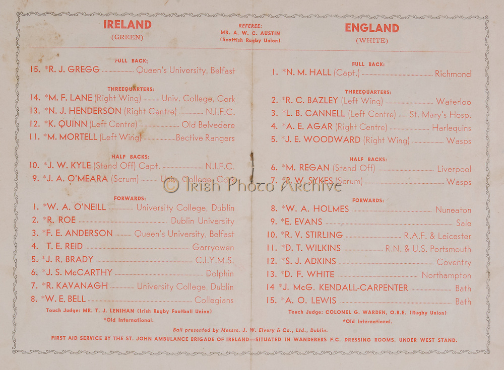 Irish Rugby Football Union, Ireland v England, Five Nations, Landsdowne Road, Dublin, Ireland, Saturday 14th February, 1953,.14.2.1953, 2.14.1953,..Referee- MR A W C Austin, Scottish Rugby Union, ..Score- Ireland 9 - 9 England, ..Irish Team,..R J Gregg, Wearing number 15 Irish jersey, Full Back, Queens University Rugby Football Club, Belfast, Northern Ireland,..M F Lane,  Wearing number 14 Irish jersey, Right wing, University college Cork Football Club, Cork, Ireland,  ..N J Henderson, Wearing number 13 Irish jersey, Right centre, N.I.F.C, Rugby Football Club, Belfast, Northern Ireland,..K Quinn, Wearing number 12 Irish jersey, Left Centre, Old Belvedere Rugby Football Club, Dublin, Ireland,  ..M Mortell, Wearing number 11 Irish jersey, Left wing, Bective Rangers Rugby Football Club, Dublin, Ireland,..J W Kyle, Wearing number 10 Irish jersey, Stand Off, Captain of the Irish team, N.I.F.C, Rugby Football Club, Belfast, Northern Ireland,..J A O'Meara, Wearing number 9 Irish jersey, Scrum, University college Cork Football Club, Cork, Ireland,  ..W A O'Neill, Wearing number 1 Irish jersey, Forward, University College Dublin Rugby Football Club, Dublin, Ireland, ..R Roe, Wearing number 2 Irish jersey, Forward, Dublin University Rugby Football Club, Dublin, Ireland,..F E Anderson, Wearing number 3 Irish jersey, Forward, Queens University Rugby Football Club, Belfast, Northern Ireland,..T E Reid, Wearing number 4 Irish jersey, Forward, Garryowen Rugby Football Club, Limerick, Ireland, ..J R Brady, Wearing number 5 Irish jersey, Forward, C I Y M S Rugby Football Club, Belfast, Northern Ireland, ..J S McCarthy, Wearing number 6 Irish jersey, Forward, Dolphin Rugby Football Club, Cork, Ireland, ..R Kavanagh, Wearing number 7 Irish jersey, Forward, University College Dublin Rugby Football Club, Dublin, Ireland,..W E Bell, Wearing number 8 Irish jersey, Forward, Collegians Rugby Football Club, Belfast, Northern Ireland,..Engish Team,..N M Hall, Wearing number 1 Engish jersey, F