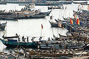 Fishing boats in the harbor of Elmina, about 130km west of Ghana's capital Accra on Thursday April 9, 2009. Global fish stocks are running low; the advocacy group Environmental Justice Foundation says fisheries are in deep decline and could collapse within 50 years if current trends continue. Developing countries like Ghana are among the crisis' first victims.
