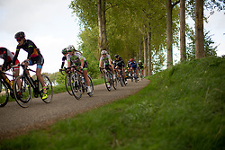The peloton rides in the second lap of the Omloop van Borsele - a 107.1 km road race, starting and finishing in s'-Heerenhoek on April 22, 2017, in Borsele, the Netherlands.