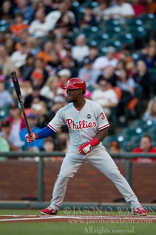 SAN FRANCISCO, CA - JULY 11:  Odubel Herrera #37 of the Philadelphia Phillies at bat against the San Francisco Giants during the first inning at AT&T Park on July 11, 2015 in San Francisco, California.  The San Francisco Giants defeated the Philadelphia Phillies 8-5. (Photo by Jason O. Watson/Getty Images) *** Local Caption *** Odubel Herrera