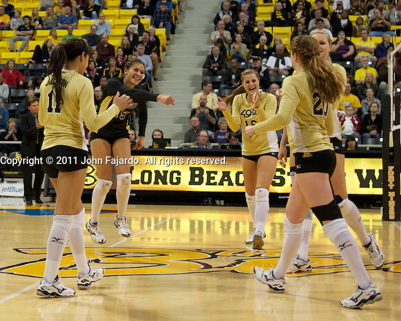 The 49ers celebrate the point in the match against New Mexico at the Walther Pyramid, Long Beach, Calif., Sat., Nov. 26, 2011.